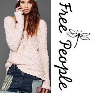 Free People Pink Songbird V Neck Boucle Sweater!